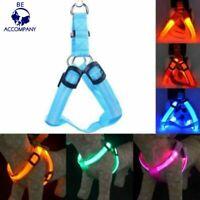 Nylon LED Flash Dog Belt Harness Leash Tether Pet Light-up Chest Collar Safety