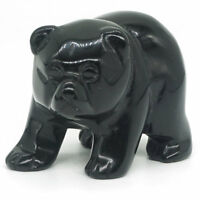 "Bear Figurine 2""Natural Black Obsidian Crystal Healing Reiki Statue Decor"