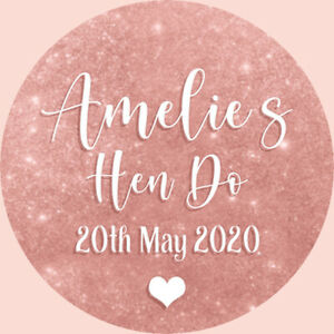 24 Personalised Stickers For Party/Sweet Cone Bags Rose Gold & White Baby Shower