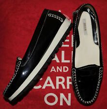 GEOX Respira Black Patent Round Toe Flat Loafer Shoes - Size UK 4 EUR 37