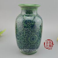 Chinese old porcelain vase green glazed vase ornaments