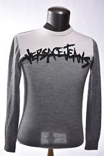 VERSACE JEANS Grey Merino Wool Logo Graffiti Sweater Pullover Small Medium Italy
