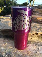 Custom Powder Coated YETI 30 oz Rambler with Sea Turtle Logo Purple Pink