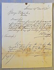US NY autograph Henry Meiggs railroad on Pacific Steam Navigation C ship passage