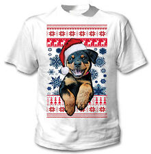 Santa Rottweiler Christmas  - COTTON WHITE TSHIRT