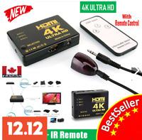 NEW 4K HDMI Switch Switcher Selector Splitter 3 Port Hub Box 1080P For HDTV HD