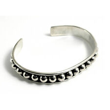 Mexican Solid Sterling Silver Heavy 30g Tribal 12mm Torque UK HM Mens/Womens 8""