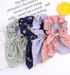 Korea Cute Rabbit Ear Striped Metal Buckle Hair Scrunchies Elastic Hair Bands