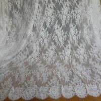 White Chantilly Lace Fabric Unique Roses Floral Wedding Fabric By The Yard