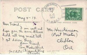 1913 Chignik, Alaska Territory Scarce 4-bar Cancel; Real Photo P-card of Chignik