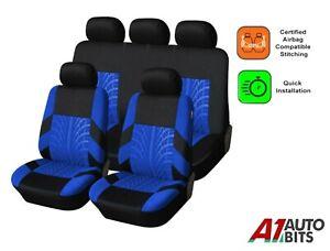 BLUE BLACK FABRIC FULL CAR SEAT COVERS SET FOR PEUGEOT 3008