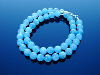 Aquamarine Natural Gemstone Necklace 8mm Beaded Silver 16-30inch Healing Stone