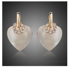 Beautiful Pearl Effect Heart Crystal Encrusted Earrings