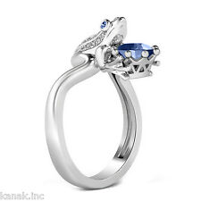 Blue and White Sapphire 925 Sterling Silver Fancy Frog Ring Free Size