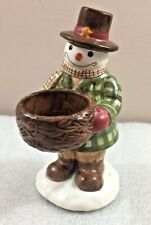 "Yankee Candle SNOWMAN ceramic figure votive or tea light candleholder 6.75""H"