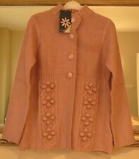 Amber Womens Supersoft Chunky Turtle Neck Pom Pom Cardigan Size 10 BNWT Pink