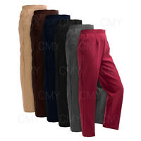 NEW WOMENS LADIES HALF ELASTICATED WAIST TROUSERS POCKETS PANTS PLUS SIZES NEW