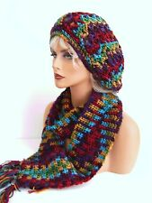 NEW WOMENS BRIGHT MULTI COL. RASTA HAT AND SCARF SET BERET CLOCHE BAGGY SLOUCHY