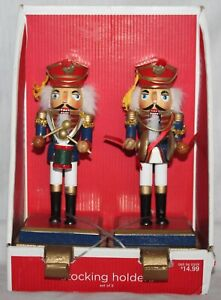 Set of 2 Nutcracker Stocking Hangers Holders Cast Iron Base New in Box 2007