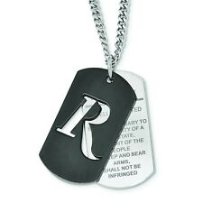 REMINGTON Stainless Steel 2nd Amendment Black IP Dog Tag Necklace