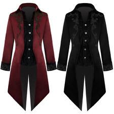 Mens Trendy Medieval Gothic Steampunk Mid Length Fleece Coat Tuxedo Windbreaker