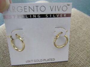 Argento Vivo Sterling Silver 18kt gold plated huggie hoop earrings