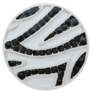 Silver Black Rhinestone White Zebra Striped 20mm Snap Charm for Ginger Snaps
