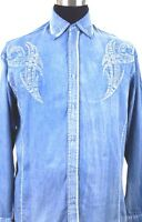 Men's Tribal Border Embroidered Design Western Cowboy Blue Shirt Stonewashed 43