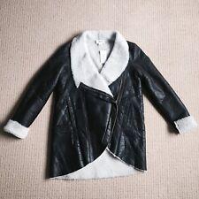 Helmut Lang Shearling Fur Leather Coat/Jacket Sz M New!