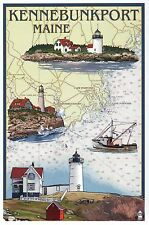 Kennebunkport Maine Nautical Chart, Lighthouses & Boat, ME - Modern Map Postcard