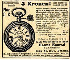 Erste Uhrenfabrik in Brüx Böhmen Hanns Konrad Historische Annonce 1910