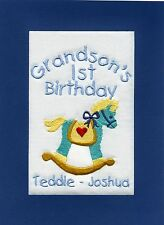 Handmade Personalised Embroidered Grandson 1st  Birthday Cards  Any Name Any Age