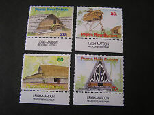 PAPUA NEW GUINEA, SCOTT # 711-714(4),1989 THATCHED DWELLINGS ISSUE MNH