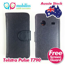 Telstra Pulse ZTE T790 Black PU Leather Wallet Case Cover Screen Protector Guard