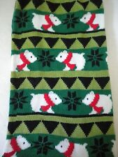 Hot Sox Originals Polar Bears with Red Scarves Holiday Socks Green Size 9-11