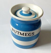More details for t g green cornishware nutmegs storage jar - black shield 9cm - *fab condition*