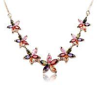 Austrian Crystal Star Flower diamond Necklace Pendant Chain 18K Rose Gold Filled