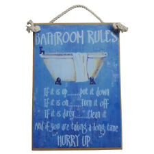 Country Printed Quality Wooden Sign Bathroom Rules Bath Room Plaque New