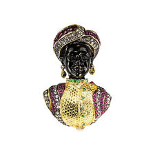 Blackamoor Ruby Emerald Gilt Sterling Designer Brooch Pin Pendant