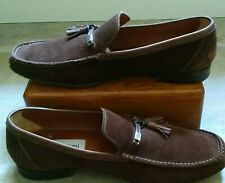 VGC A.Testoni Brown Suede Leather Tassel Loafers Shoes Mens UK10.5/ US 11.5 M