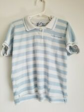 OshKosh B'gosh Vintage Girls Blue White Stripe Button Up Top Shirt 6X USA