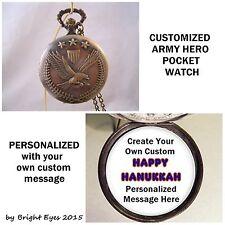 "CUSTOM Personalized USA Army Military Pocket Watch 31"" Necklace Unisex"