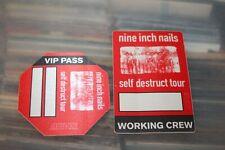 NIN Nine Inch Nails  - 2x Unused Backstage Pass -  FREE SHIPPING - lot#04