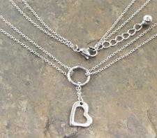 N339 Halskette Edelstahl Anhänger Herz Damen Necklace Heart Pendant Silber