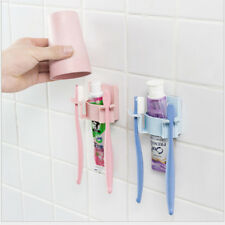 Toothpaste Dispenser Holder Toothbrush Wall Mount Stand Bathroom Supplies Y2