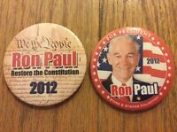 """2 Different 3"""" 2012 Ron Paul For President Restore The Constitution Buttons"""