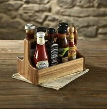 Wooden Cutlery Condiment Holder Table Caddy Acacia Wood 2 Compartments 25cmx15cm