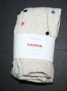 New Hanna Andersson Girls Tights 150 160 14 year Capri Polka Dots Heather Brown