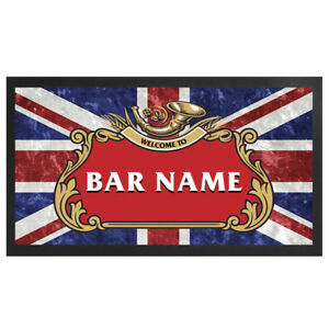 Personalised Union Jack Bar Runner Pub Club Cafe Cocktail Beer Mat