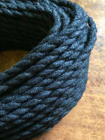 Black Jute Rope Electrical Cord - Rustic Style Hemp Covered Lamp/Pendant Wire
